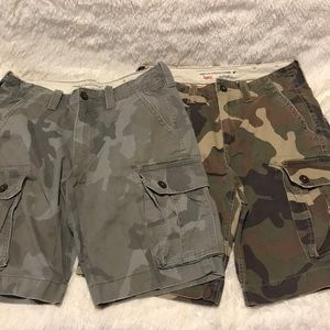 Two pairs of American Eagle Camo Cargo shorts